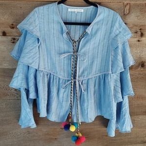 English Factory Blue Ruffle Tie Front Top PomPoms